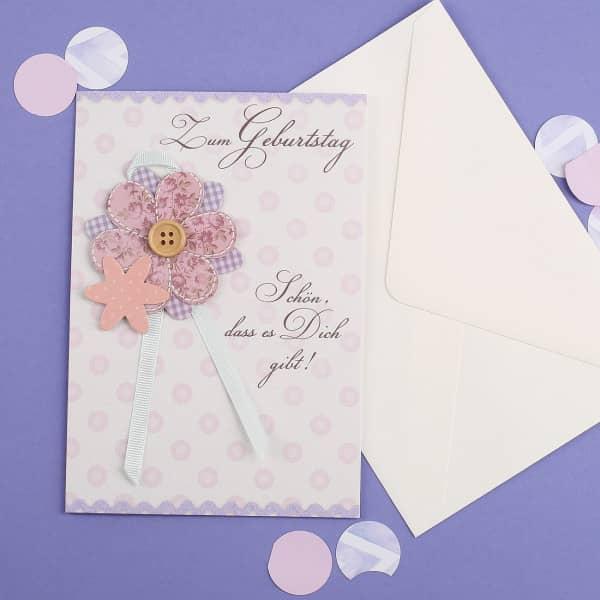 Geburtstagskarte 3D mit Knopf und Papierblumen