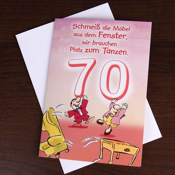 Grußkarte Möbel aus dem Fenster zum 70.Geburtstag