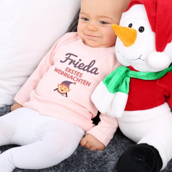 Rosa Babypulli Erstes Weihnachten mit Wunschname