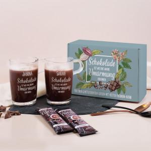 Personalisiertes Geschenkset Schokolade mit zwei Gläsern