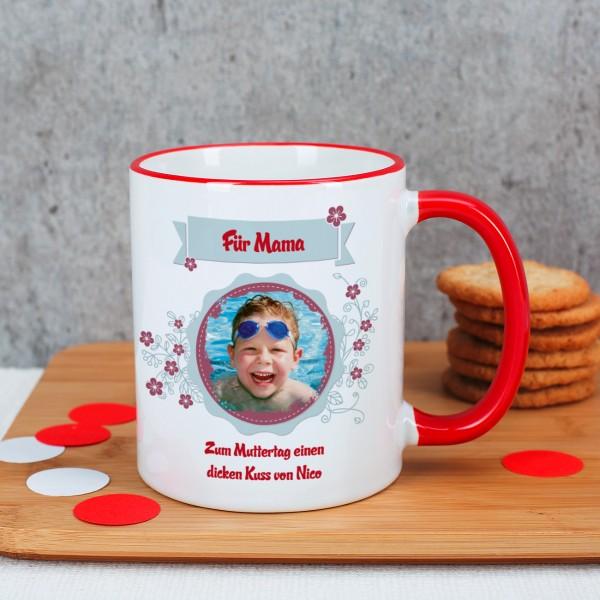 Foto Tasse mit Blüten und Wunschtext
