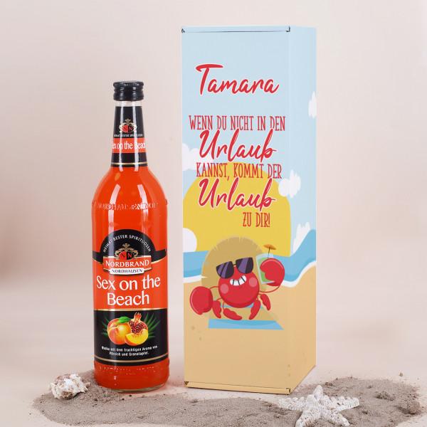 Geschenkset mit Sex on teh Beach Cocktail und Bedruckter Flaschenverpackung