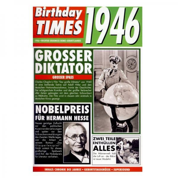 Birthday Times Karte mit Sound 1946