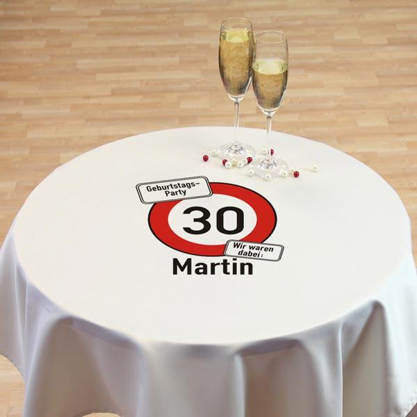 Tischdecke mit Verkehrszeichen Alter und Name