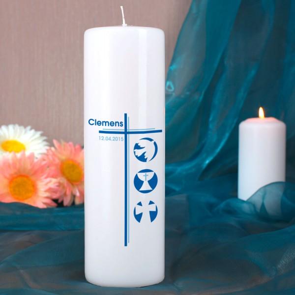 Kommunionkerze für Jungen mit christlichen Symbolen
