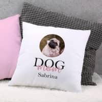 Fotokissen Dog Mom | Dog Dad mit Wunschbild und Name bedruckt