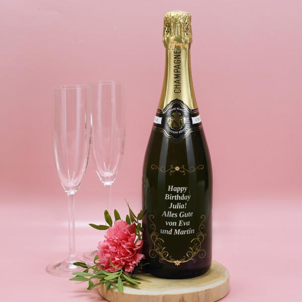 Edler Champagner mit frei wählbarem Wunschtext zum Geburtstag