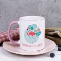 Flamingo Tasse mit Wunschtext und rosa Henkel