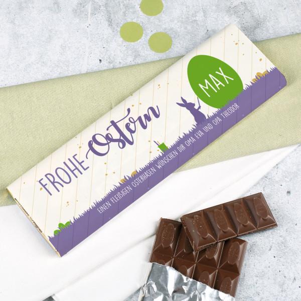 Frohe Ostern 300 g Schokolade mit Name und Grußtext