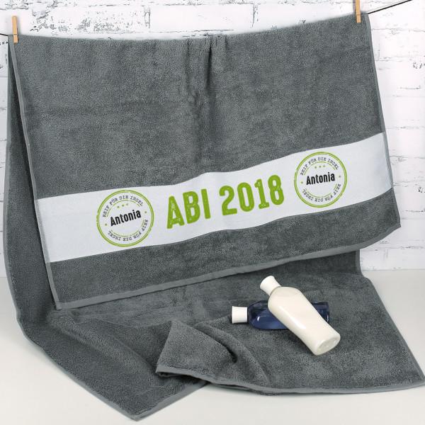 Abi 2018 Badetuch mit Name Reif für die Insel