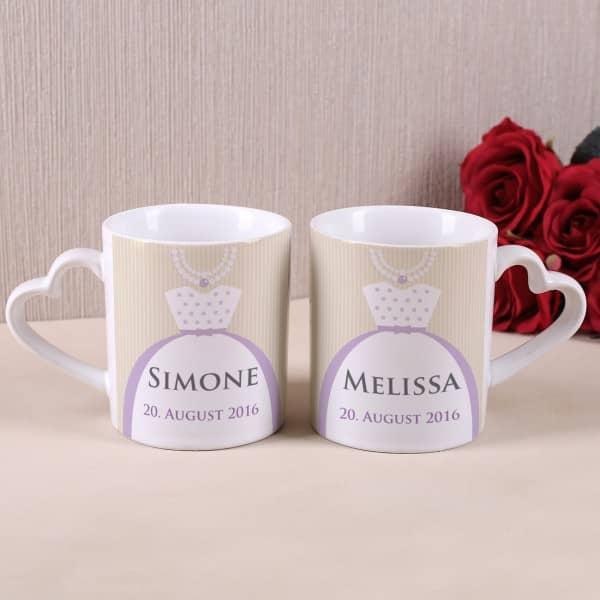 Hochzeitstassen für Braut und Braut mit Namen und Datum