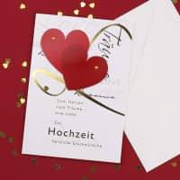 3D Glückwunschkarte zur Hochzeit - Zwei Herzen
