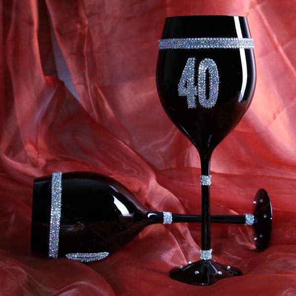 Schwarzes Wein Glas zum 40. Geburtstag