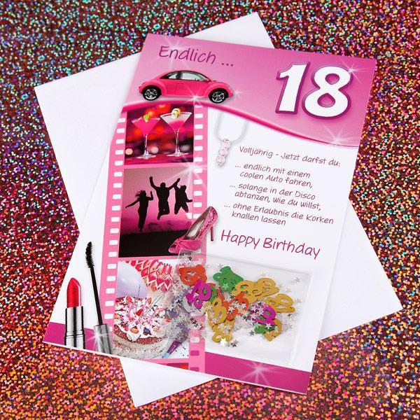 Grußkarte für Frauen zum 18. Geburtstag