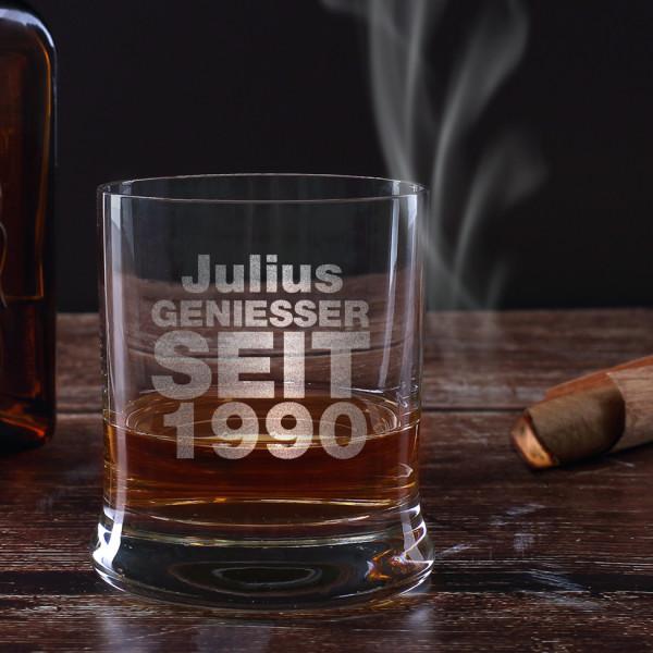 graviertes Whiskyglas Geniesser Seit mit Namen und Geburtsjahr