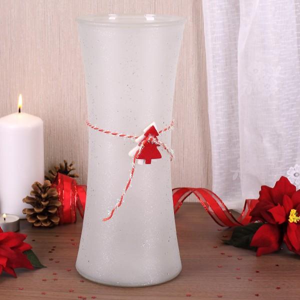 Große weihnachtliche Vase aus Glas in Weiß