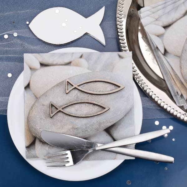 Servietten zur Taufe, Kommunion oder Konfirmation Fisch Stein