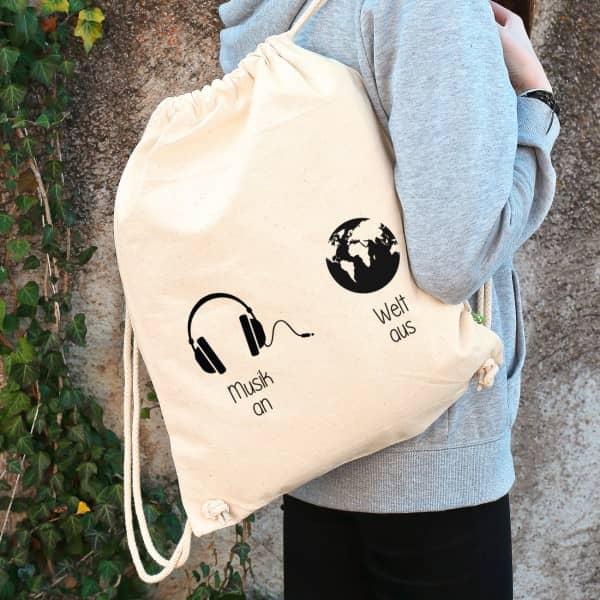 Rucksack in Natur aus Baumwolle mit Wunschtext