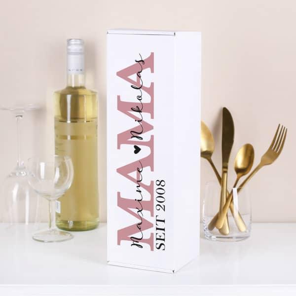 Flaschenverpackung für Mütter mit Wunschtext und Jahr personalisiert