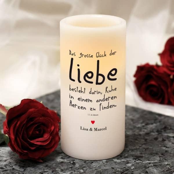 LED-Echtwachskerze mit Liebesspruch und Ihrem Wunschtext