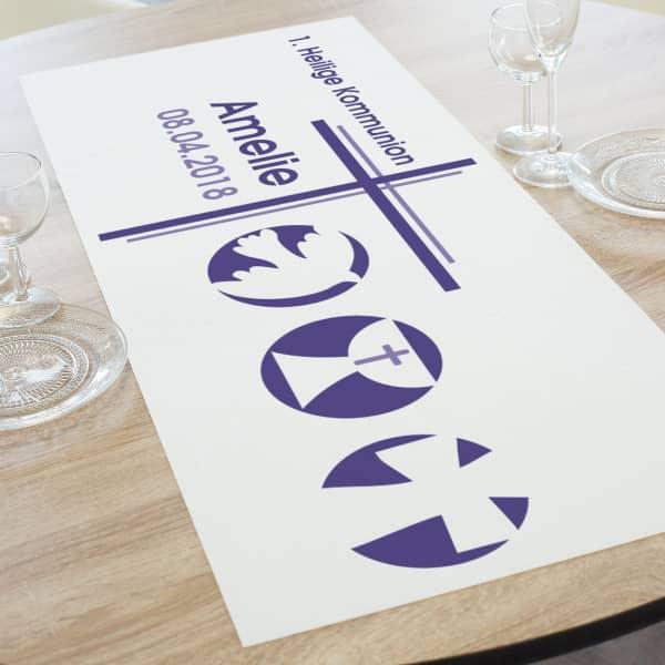Tischläufer für religiöse Anlässe in lila mit Name, Datum und Wunschtext