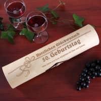 Weinverpackung - Schleife mit Alter und Wunschtext
