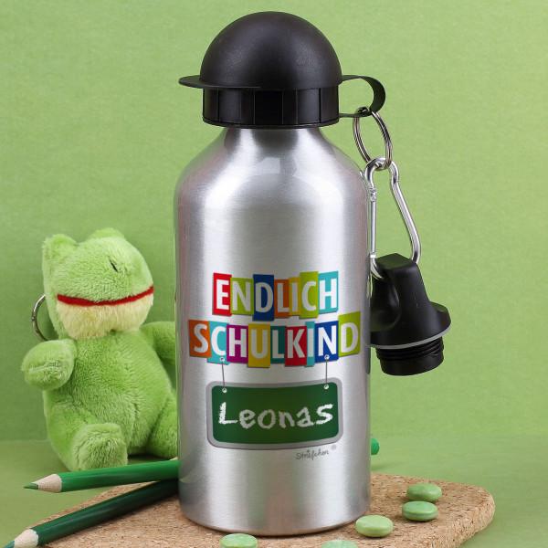 Trinkflasche ''Endlich Schulkind'' mit Wunschname