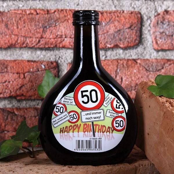 Boxbeutel Wein zum 50. Geburtstag