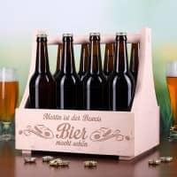 Bierträger aus Holz Bier macht schön graviert mit Name