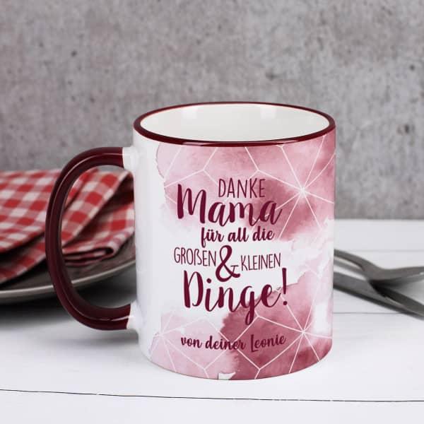 Dunkelrote Tasse - Danke Mama für all die großen und kleinen Dinge