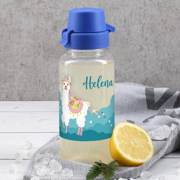 Transparente Trinkflasche mit Lama, bunten Blumen und Name 0,4 L
