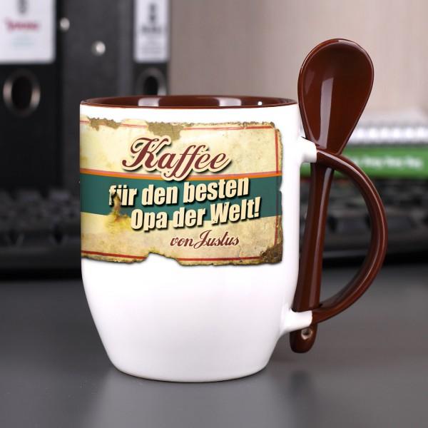 keramiktasse f r kaffee und tee mit l ffel und aufdruck ihres wunschnamens. Black Bedroom Furniture Sets. Home Design Ideas