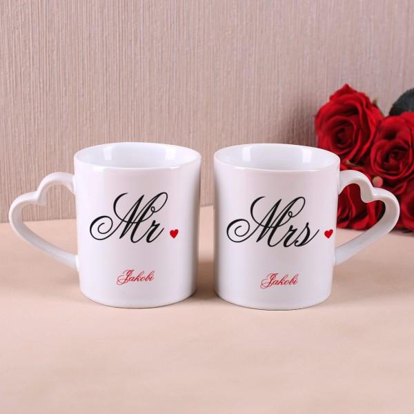 Paartassen Mr und Mrs mit herzförmigem Henkel