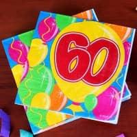 Geburtstagsservietten Ballon zum 60.