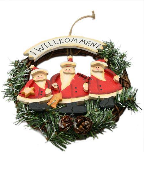 Weihnachtlicher Türkranz Willkommen- Weihnachtsmänner