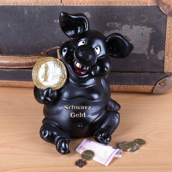 Schwarzgeld-Sparschwein mit Euro