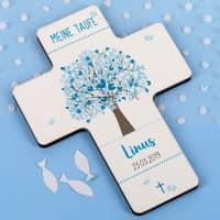 Bedrucktes Kreuz zur Taufe - Lebensbaum - in Blau