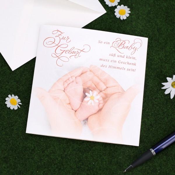 Glückwunschkarte zur Geburt mit passenden Spruch