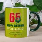 Tasse zum 65. Geburtstag mit Name und Wunschtext