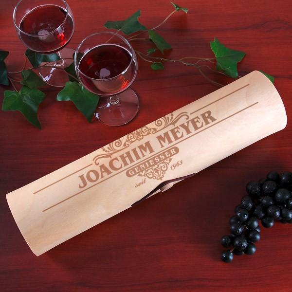 Flaschenverpackung Holzrolle mit Gravur