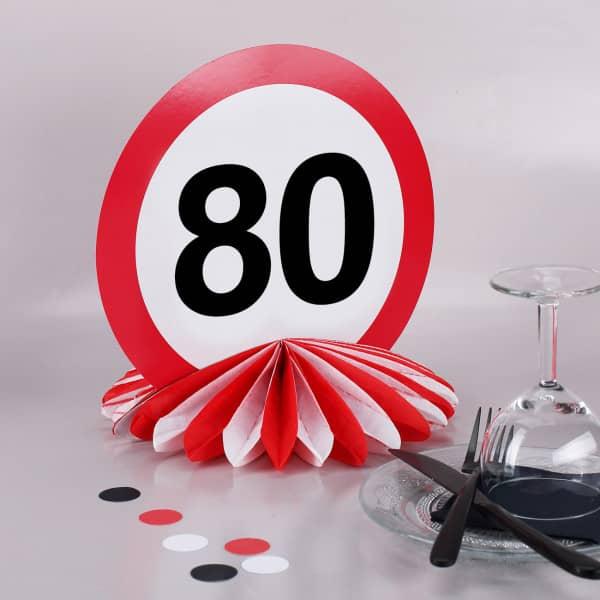 Tisch-Dekoration zum 80. Geburtstag