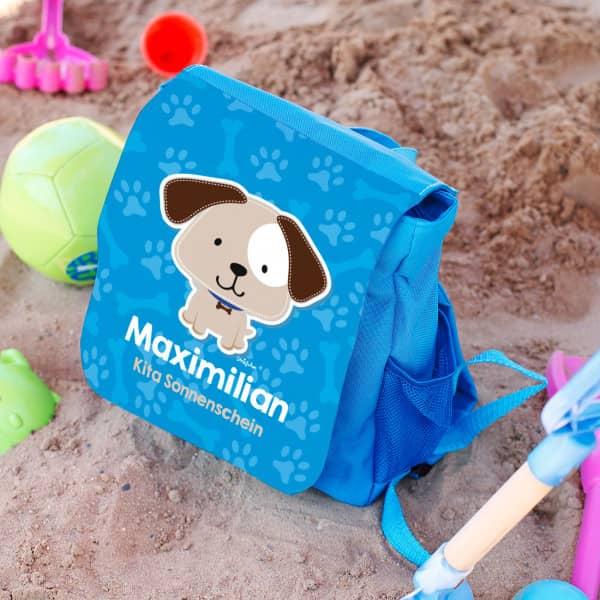 Individuellbabykind - Kinderrucksack mit kleinem Hund, Name des Kindes und Name der Kita Gruppe - Onlineshop Geschenke online.de