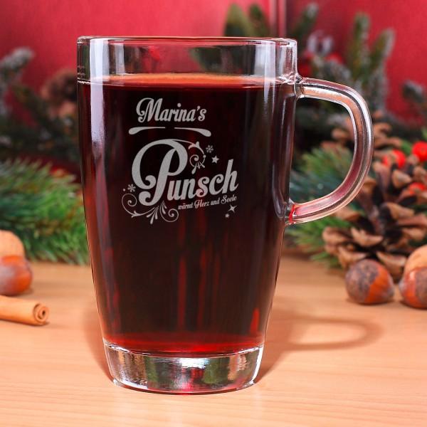Teeglas mit Wunschnamen und weihnachtlichem Punsch Motiv