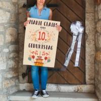 Buntes Banner zum Kindergeburtstag mit Name und Alter