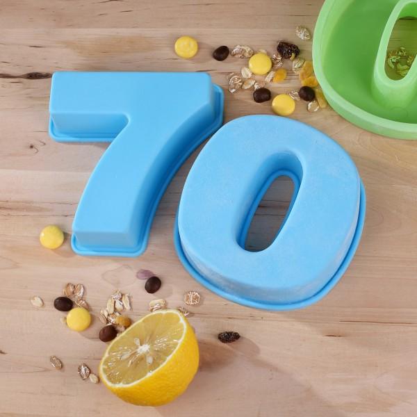 Backform zum 70. Geburtstag, blau