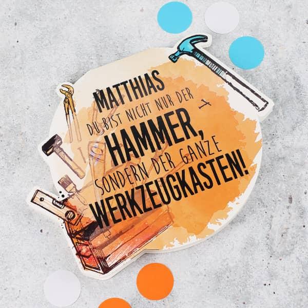 """Klappkarte """"Du bist nicht nur der Hammer"""" mit Name"""