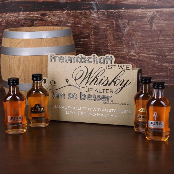 Jura Whisky Geschenk für gute Freunde mit Wunschtext auf persönlicher Geschen...