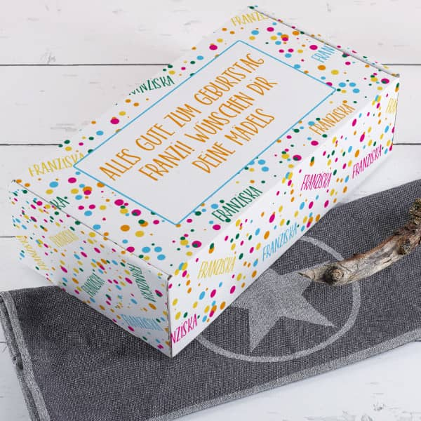 Konfetti Geschenkverpackung mit Name und Glückwunschtext