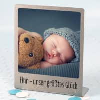 Großer Edelstahl Fotorahmen mit Ihrem Lieblingsfoto und Wunschtext bedruckt