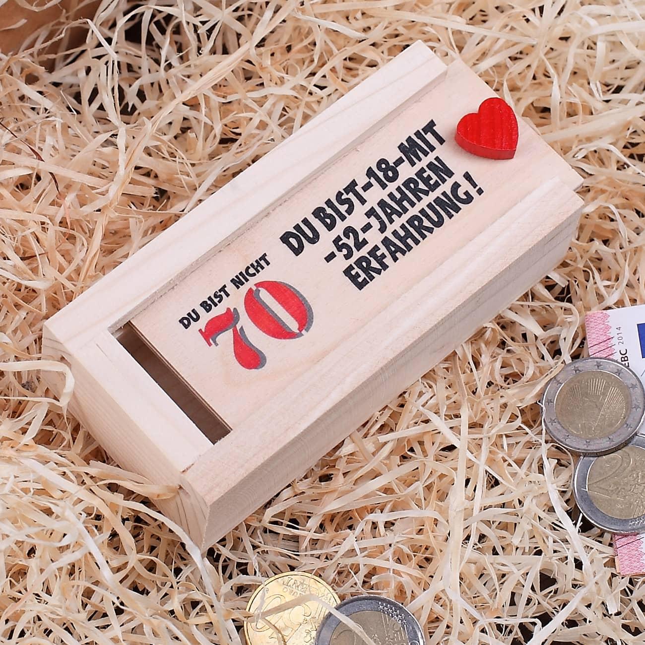 Holzkiste als geldgeschenk zum 70 geburtstag geschenke for Geschenke zum 70 geburtstag frau